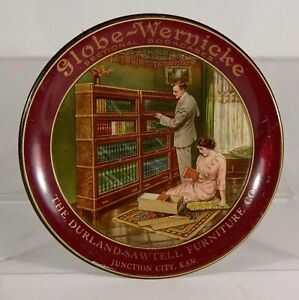 c1905 MISSION OAK LAWYERS STACKING BOOKCASE TIN LITHOGRAPH ADVERTISING TIP TRAY