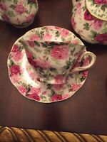 ONE GRACIE CHINA BY COASTLINE,WHITE With ROSES CUP & SAUCER NEW FREE SHIPPING