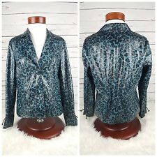 CHI by Falchi Jade Blue Cheetah Print Faux Leather Womens Jacket Size Small