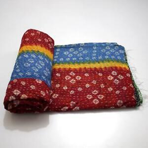Vintage Kantha Quilt Indian Handmade Cotton Bedspread Bohemian Blanket Throw