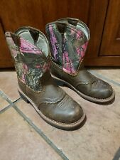 ARIAT Fat Baby Cowboy Boots Western Womens Mossy Oak Brown Leather Pink Camo 6.5