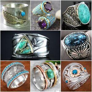 Vintage Boho Turquoise Handmade Ring 925 Silver Fine Jewelry Women Men's Sz 5-13