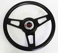 "Chevelle Nova Impala Black Steering Wheel with black spokes Blk/Red cap 13 3/4"""