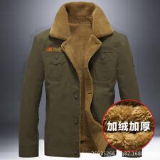 Winter Men's Sherpa Trucker Jacket Thermal Collared Fleece Fur Lining Top Coat