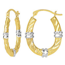 10k 2 Tone Yellow and White Gold Glitter Oval Hoop Earrings