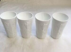 """Set of 4 Vtg  White Milk Glass Harvest Grapes Drinking Glasses 12 oz Tumbler 6"""""""