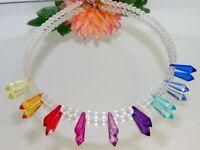 Halskette Kette Tropfen rot grün blau gelb mehrfarbig bunt Perlen weiss 398f