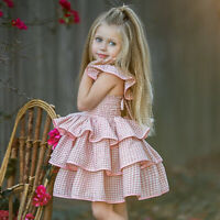 Kid Baby Girl Sleeveless Casual Party Plaid Wedding Ruffle Dress Sundress Summer