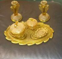 Amber Six Piece Art Deco vanity Dressing table set Glass 1950s cut trinket