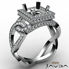 1.25Ct Princess Diamond Engagement Semi Mount Halo Pave Set Ring 14k White Gold