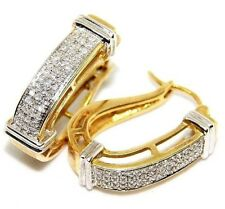 Close-Out Sale 0.90 Ct White Natural Diamond Hoop Earrings In 10K Yellow Gold.