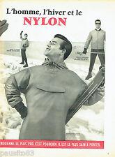 PUBLICITE ADVERTISING 086  1958  Anorak fuseau  ski homme Elastis Nylon