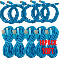 10Pack 10Ft USB Fast Charging Cable Lot For iPhone 11 8 7 6 XR Data Charger Cord