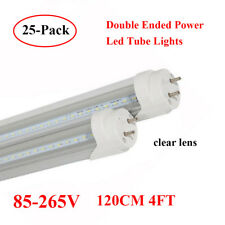 25PCS 4Foot T8 LED Tube Light Double-end Power Clear Cover 6500K Ballast-Free