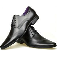 Mens New Brown Faux Leather Smart Formal Black Wedding Work Office Fashion Shoes