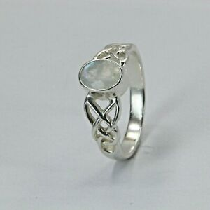 Size 6 1/2 Size 6.5 Blue Rainbow MOONSTONE Celtic Ring 925 STERLING SILVER #514