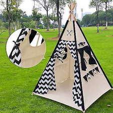 Large Kids Teepee Tent Children Home Canvas Pretend Play Teepee Outdoor Indoor