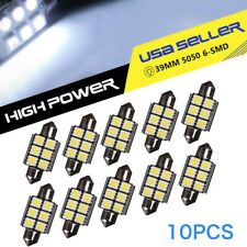 10X Pure White 39MM Festoon 6SMD Led Interior Map Dome License Lights Bulbs 12V