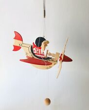 Wood Airline Flying Propeller Helicopter Hanging Mobile