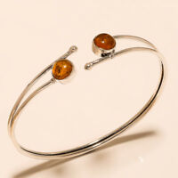 New Offer Free Shipping Amber Bangel Cuff Silver Plated Gemstone Jewellery T1
