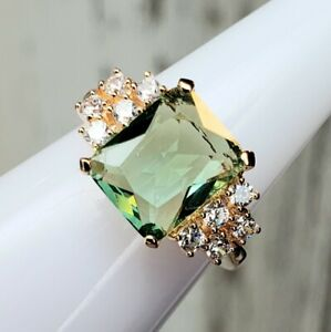 Bomb Party GREEN APPLE TOPAZ Rose Gold Size 6 Ring RBP2899