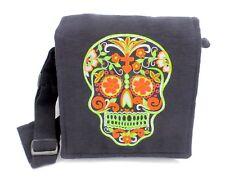 Sugar Skull Black Crossbody Purse Day of the Dead Skull Boho Hippie Bag