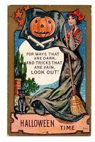 Vintage Winsch Schmucker Halloween Postcard Feat Beautiful Witch,Broom,JOL&Cat