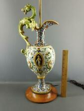 Antique Italian Faience Majolica Hand Painted Figural Dragon Lamp Artist Signed