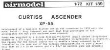 Airmodel 1:72 Curtiss Ascender XP-55 Vacuform Aircraft Model Kit #189