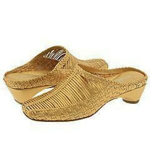 NIB MODELLISTA Gold Leather Woven Divine Mules SHOES 6 or 7