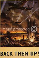 Vintage WW2 British Military Poster Back Them Up  18x24