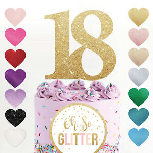 cake topper number any age birthday glitter rose gold 16 18 21 30 40 50 60 70 80