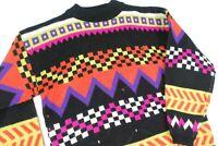 Vintage Color Block Rainbow Crewneck Sweater Bold Geometric Jumper Womens L