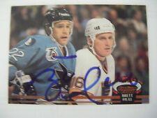 BRETT HULL signed BLUES 1992-93 Topps Stadium Club hockey card AUTO Autographed