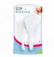 Cepillo de pelo del bebé & Peine Set en Blanco Suave & Suave Para Tu Bebé Primeros Pasos
