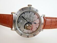 Stauer Men's Meteorite Dial Automatic Watch Brown Leather Strap Wristwatch
