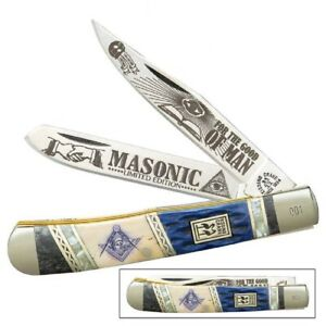 "Masonic Kissing Crane Large 4"" Two Blade Trapper Pocket Knife KC5581"