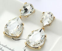 1 Pair Elegant White Crystal Rhinestone  Ear Drop Dangle Stud long Earrings 195