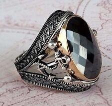 Anchor Ottoman Black Onyx Gemstone Solid 925 Sterling Silver Mens Ring Gemstone