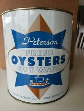 PETERSON PACKING CO. 1-GAL OYSTER TIN CAN - GOOD CONDITION