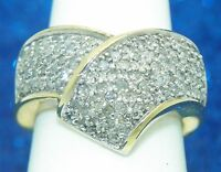 NEW 1 ct DIAMOND COCKTAIL BAND RING REAL SOLID 10 K GOLD 5.9 g SIZE 7.25
