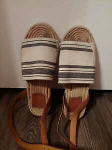 Tory Burch Stretch Canvas Awning Striped Ivory Blue Espadrilles Sandals Shoes 7
