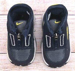 Boys Nike Play Baby Toddler Navy Blue White Yellow Zip Up Sneaker 2C