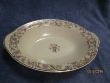 TST Taylor Smith Taylor Oval Serving Bowl Gold Trim Brown Scrolls Flowers