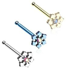 AB CENTER SNOWFLAKE 20G NOSE RING STUD BONE BODY PIERCING JEWELRY (3 Colors)