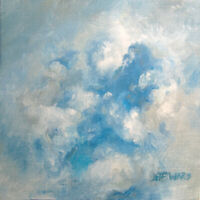 "Clouds Oil Painting 4""x4"" Art by Jeff Ward"