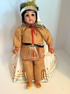 """Antique Miniature 7"""" German Bisque Native American Jointed Doll All Orig"""