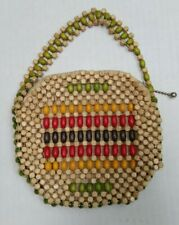 Vintage 40/50's Multi-Color Wood Bead Purse Handbag - 5 1/2 x 5 inches