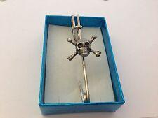 """Skull & Crossbones SCKR kilt pin Scarf or Brooch pin pewter emblem 3"""" 7.5 cm"""