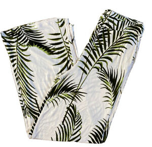 Lightweight Summer Print Floral Trousers White Tropical H&M Size 8 10 Holiday